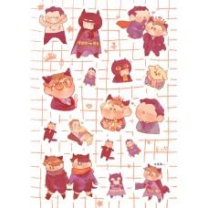 夏川《粉貓超蝙貼紙》